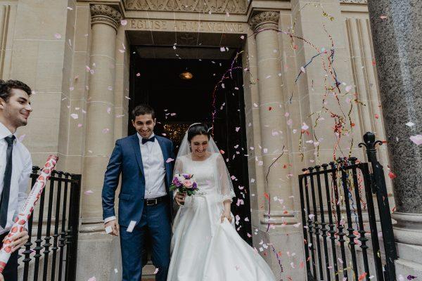confetti Cathédrale apostolique arménienne Religieuse reportage photo mariage