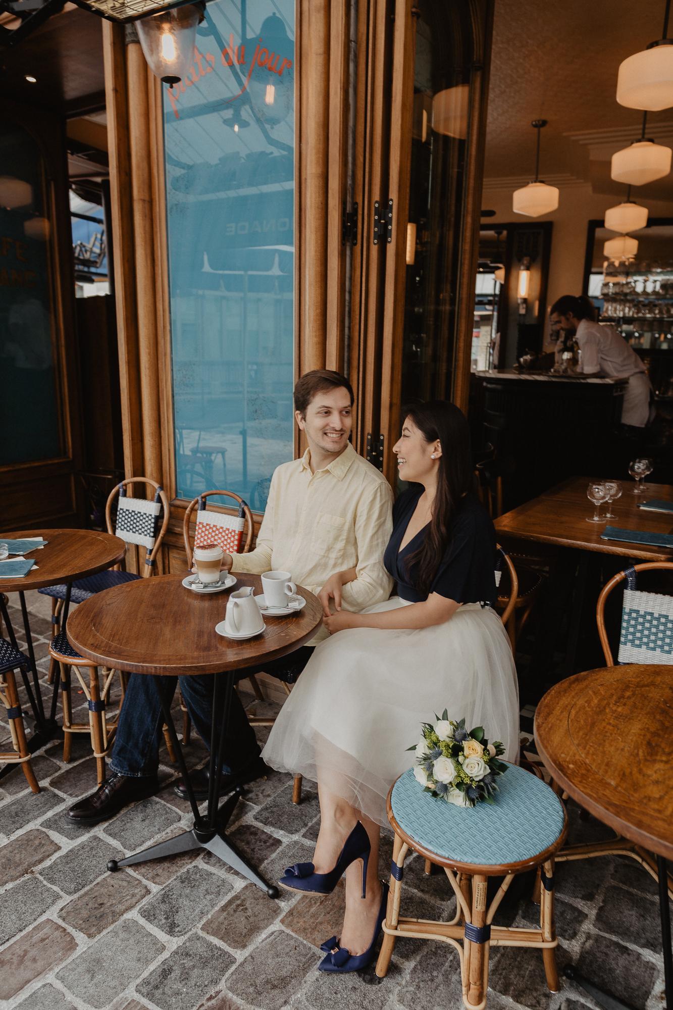 Couple in a Parisian cafe