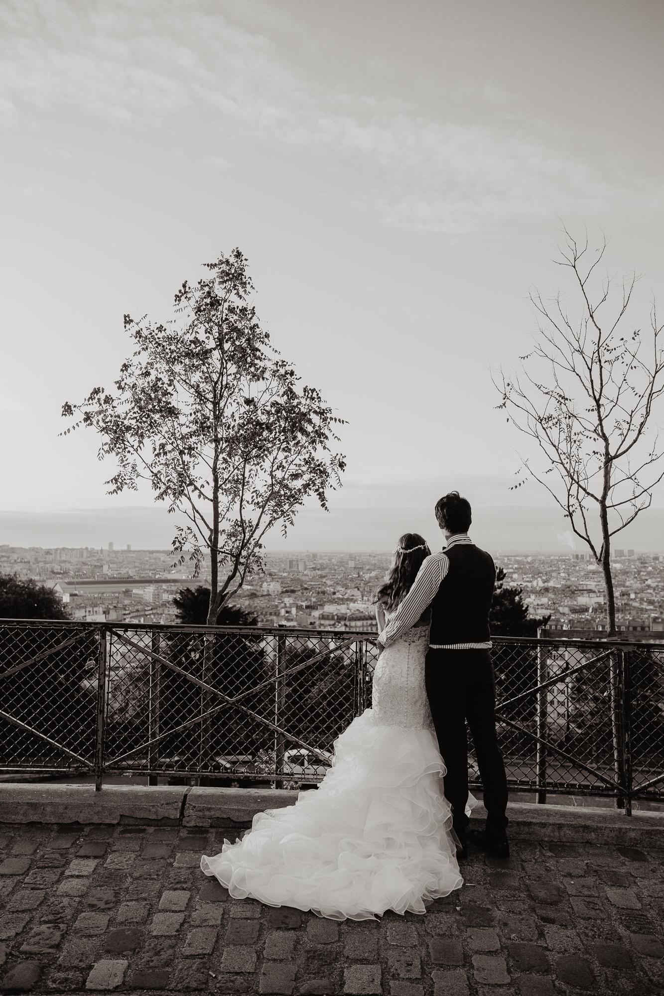 black white wedding photo paris
