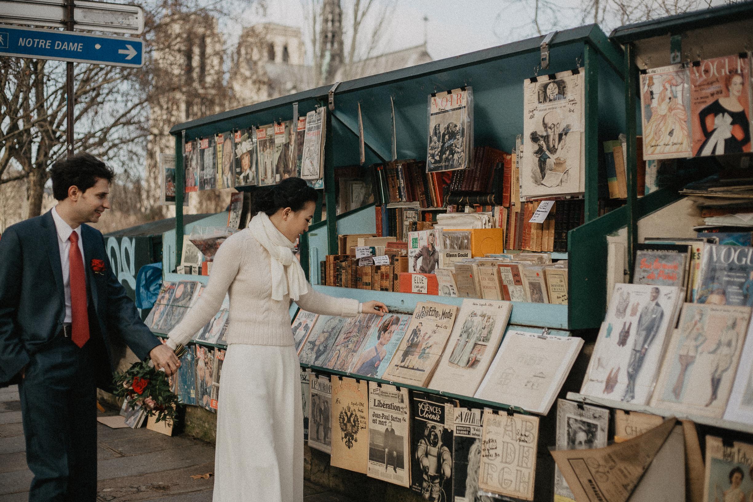 Winter Wedding photography Paris Seine river book store