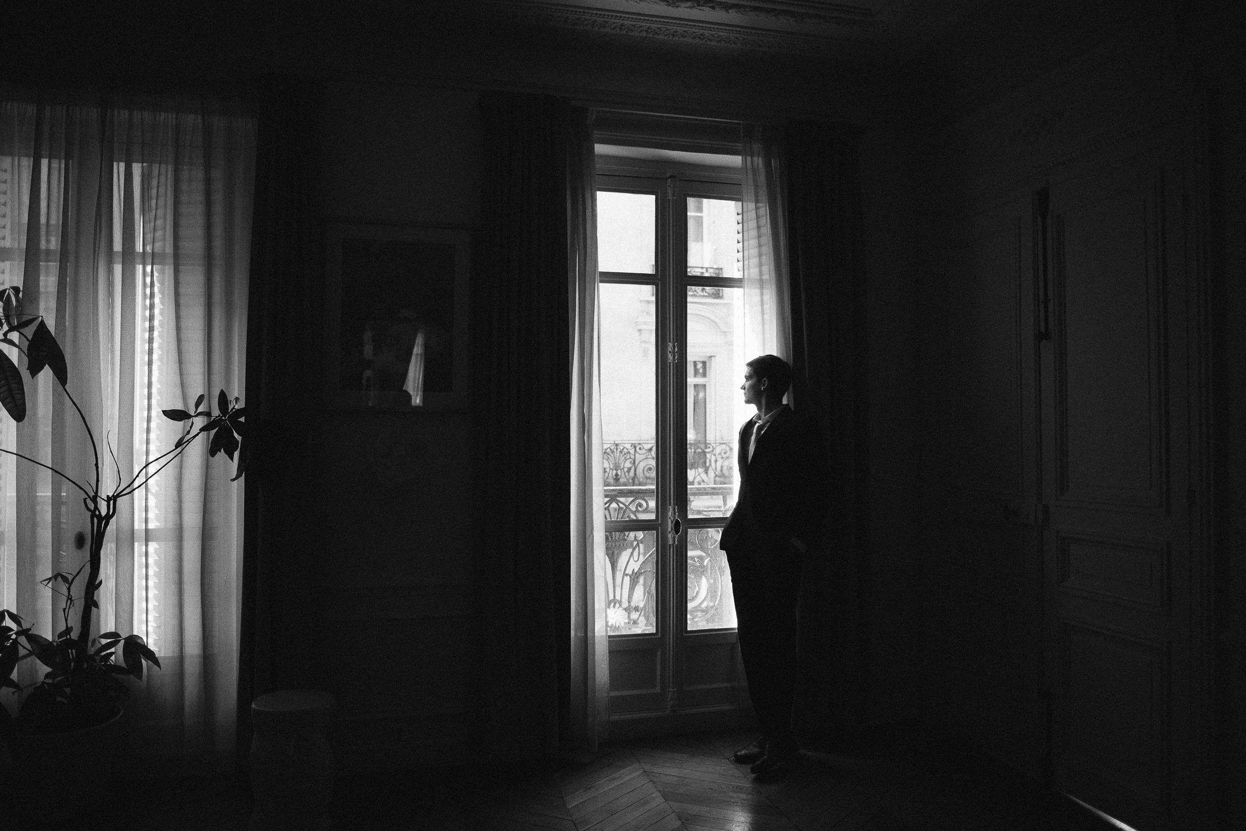 black and white wedding photo paris