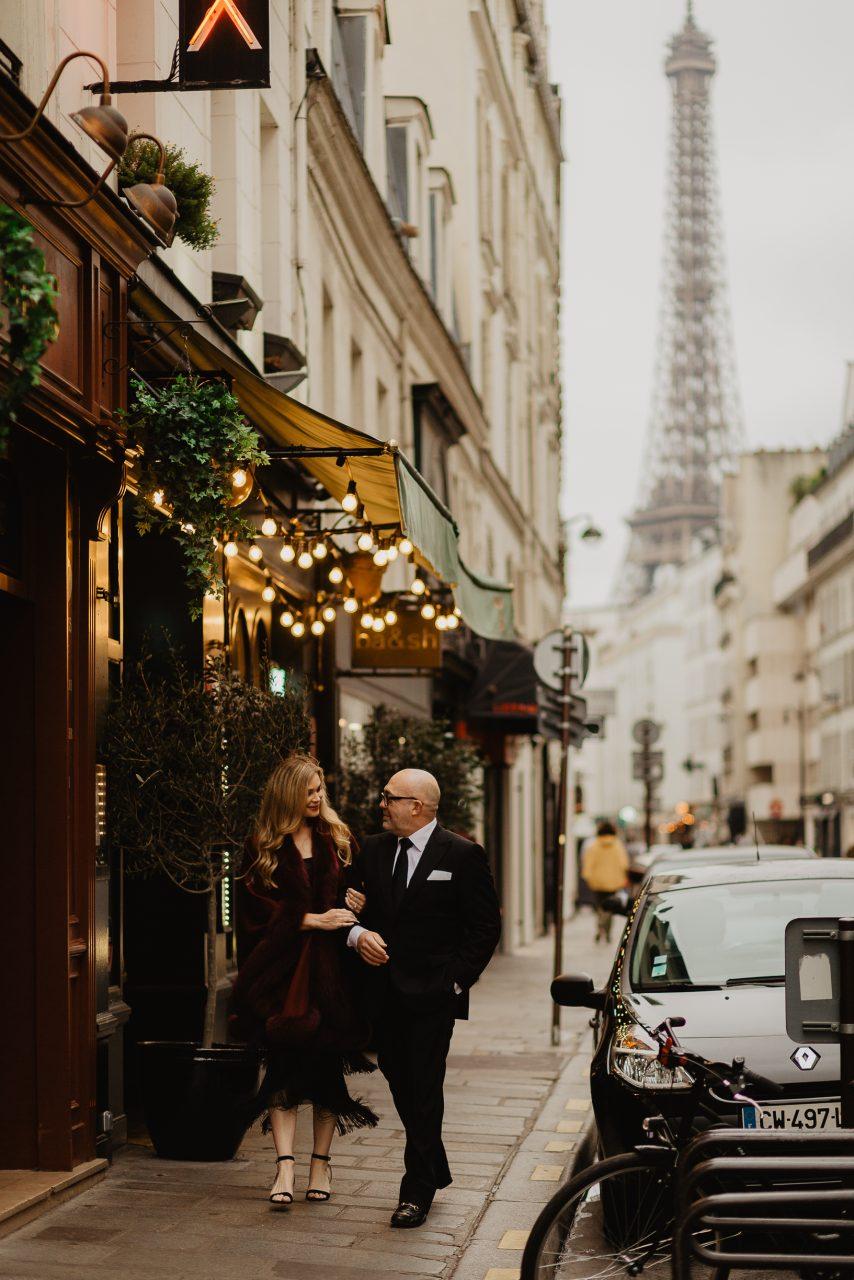 Autumn at Rue Saint Dominique Paris Eiffel tower wedding photo