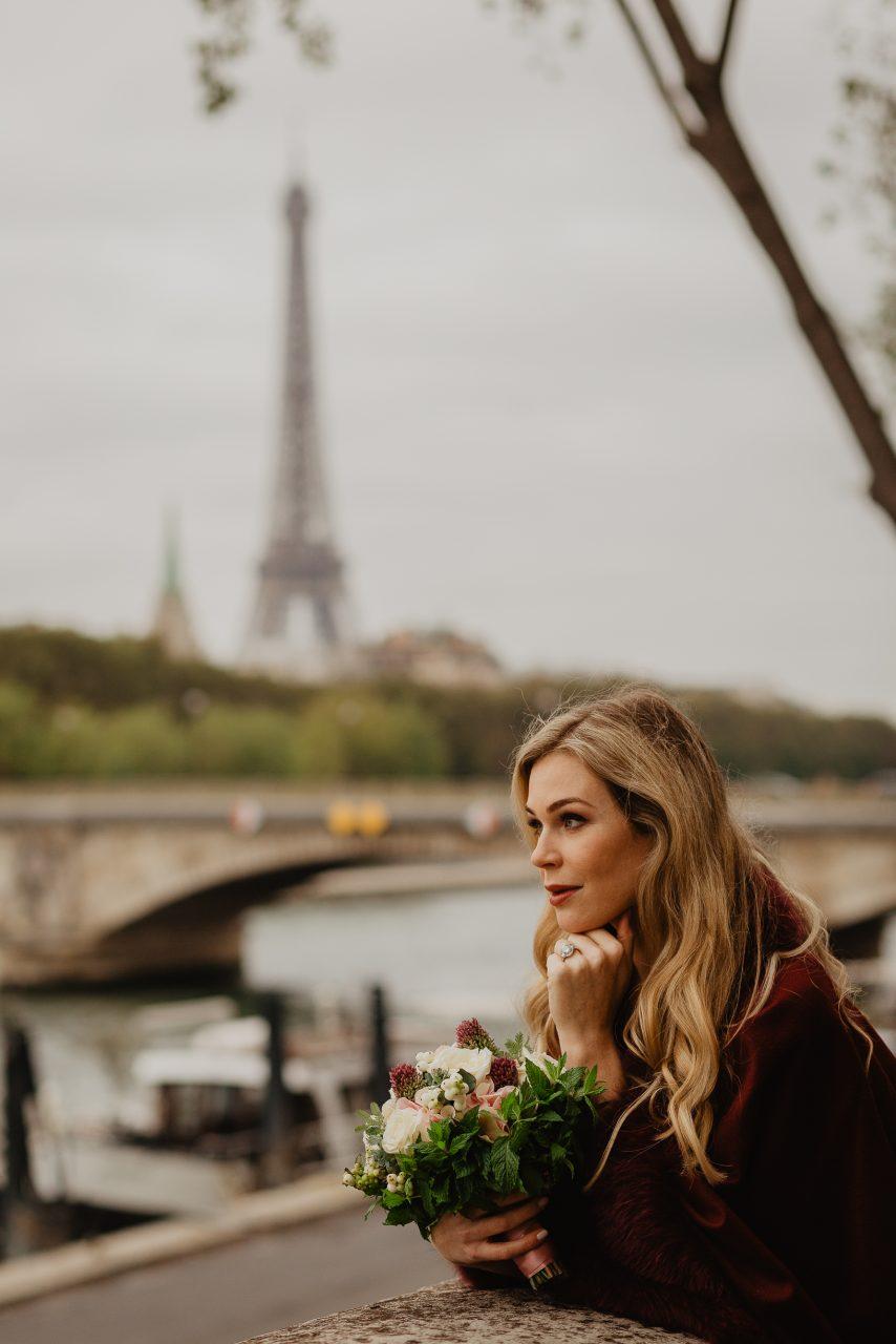 Autumn paris wedding photo eiffel tower