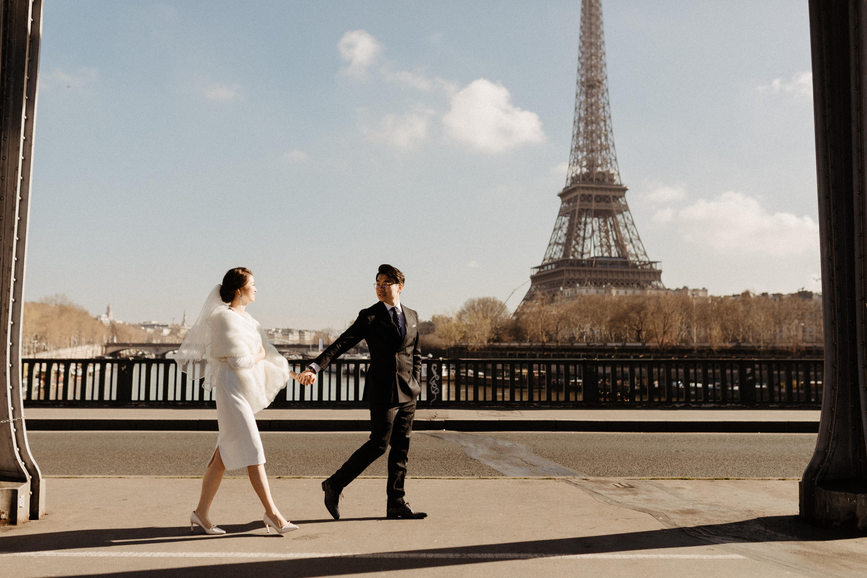 Paris Wedding  street style couple eiffel tower
