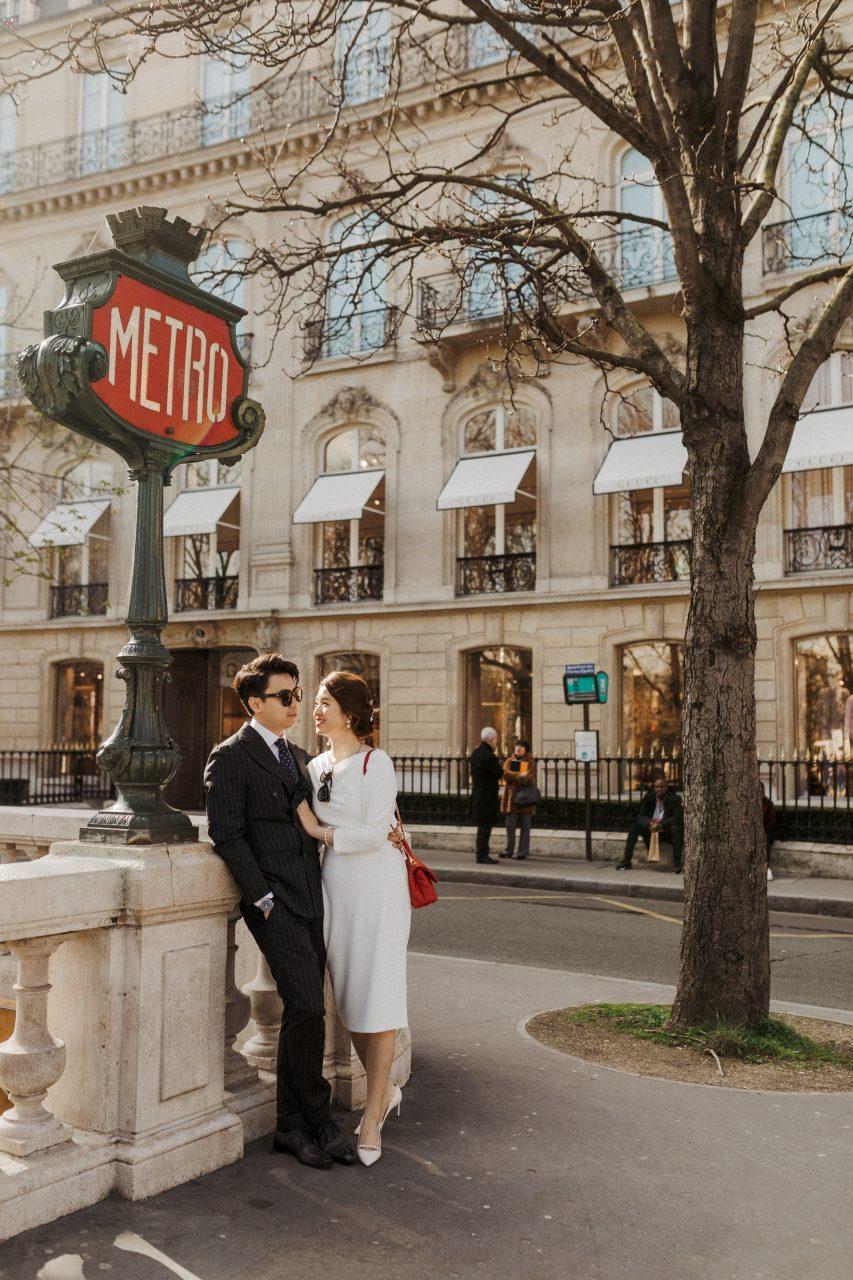 Paris metro couple wedding photoshoot