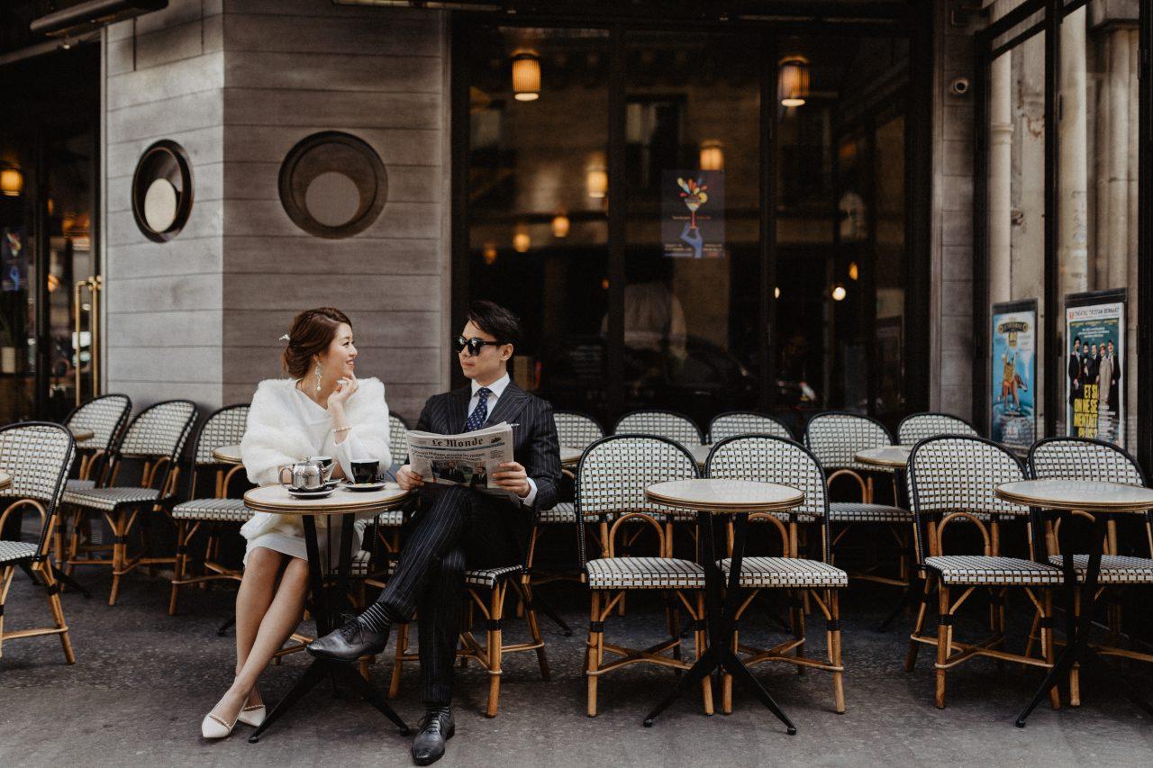 Paris couple cafe photoshoot