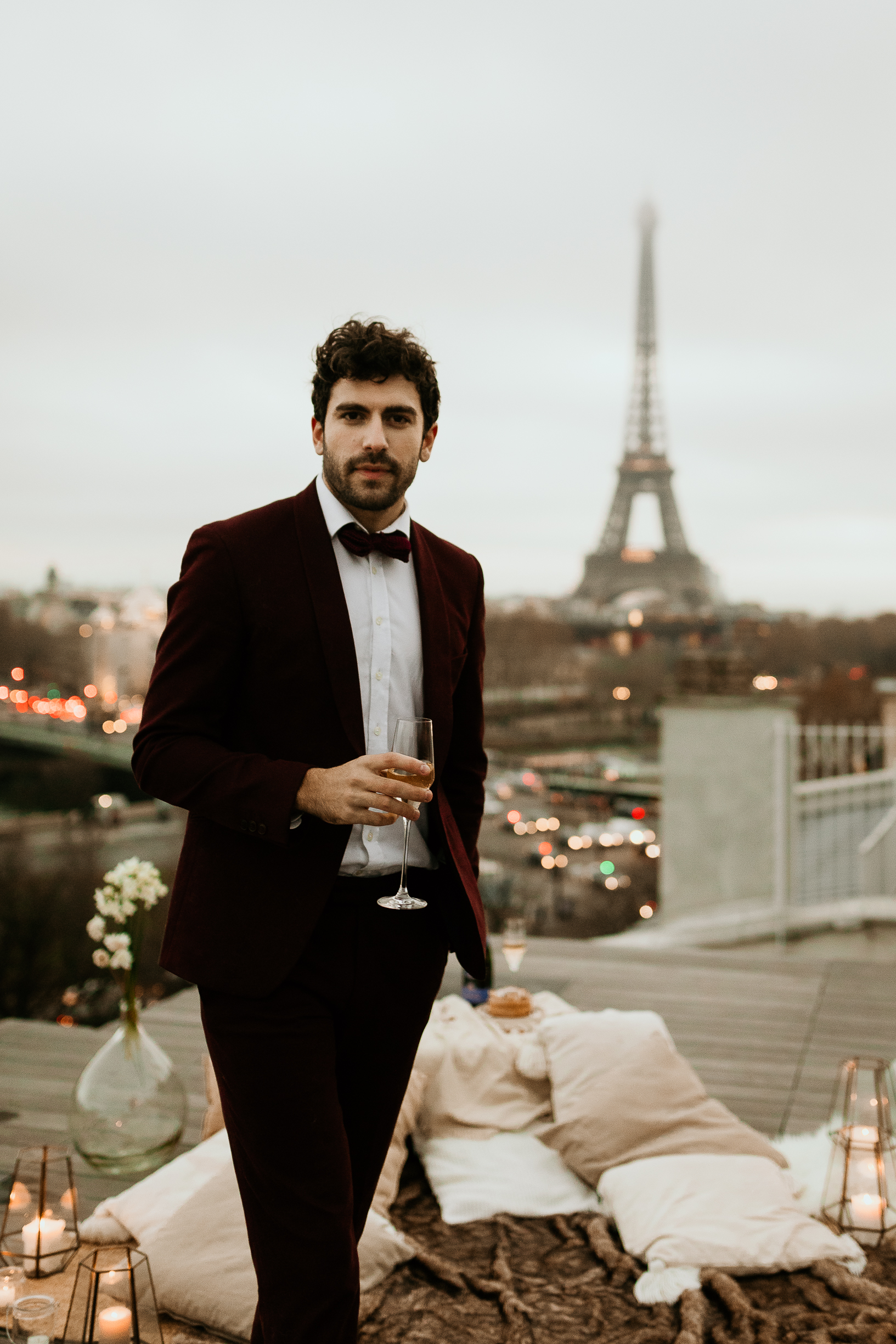 groom paris wedding rooftop