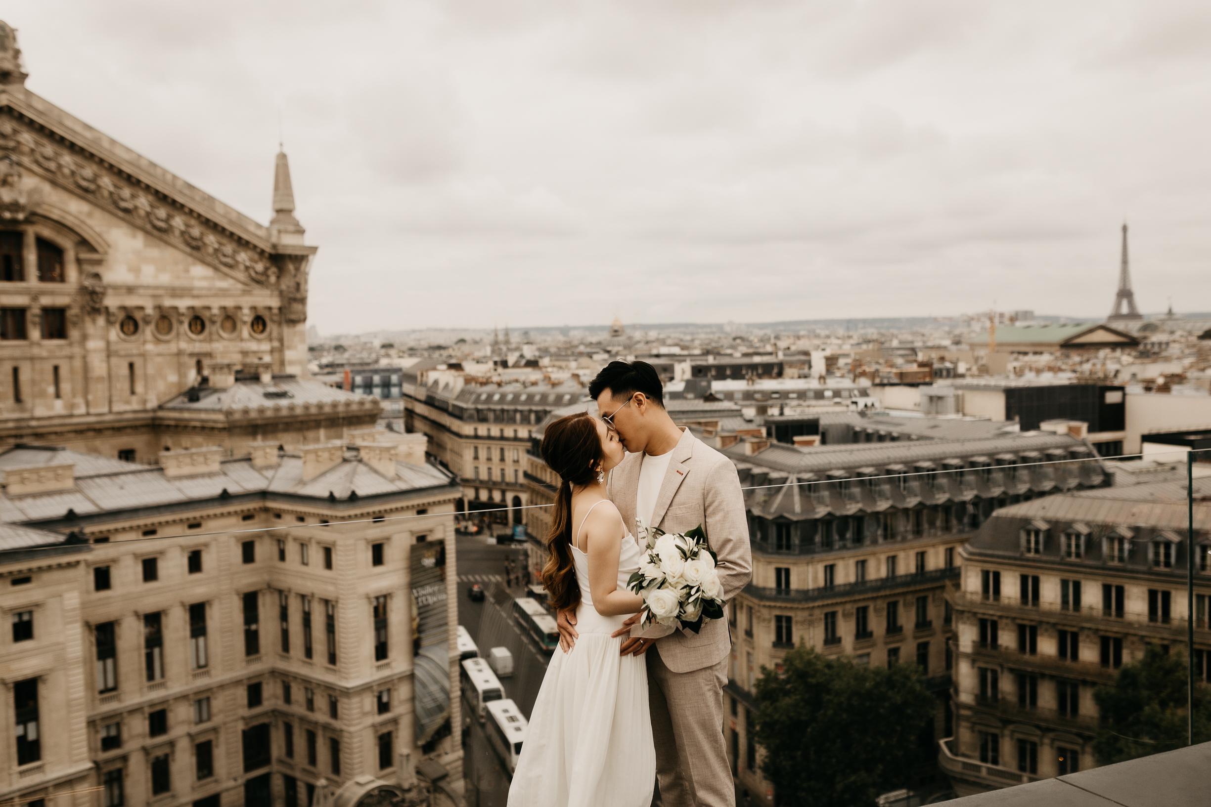 Paris rooftop couple engagement photography