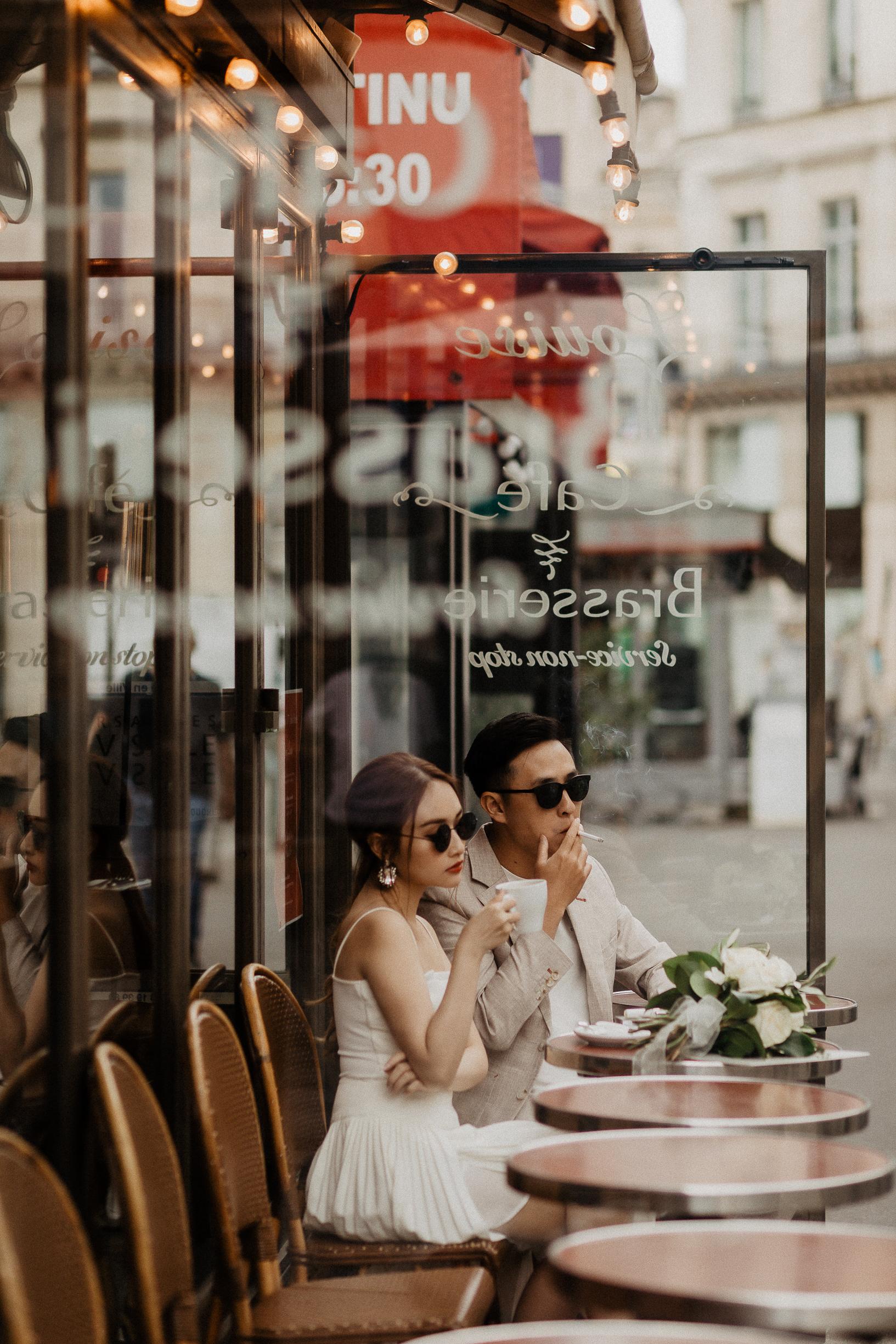 Paris Engagement Couple photos Paris Cafe