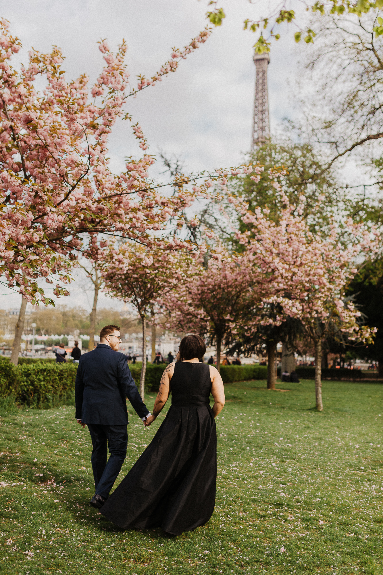 Paris elopement photographer spring cherry blossom