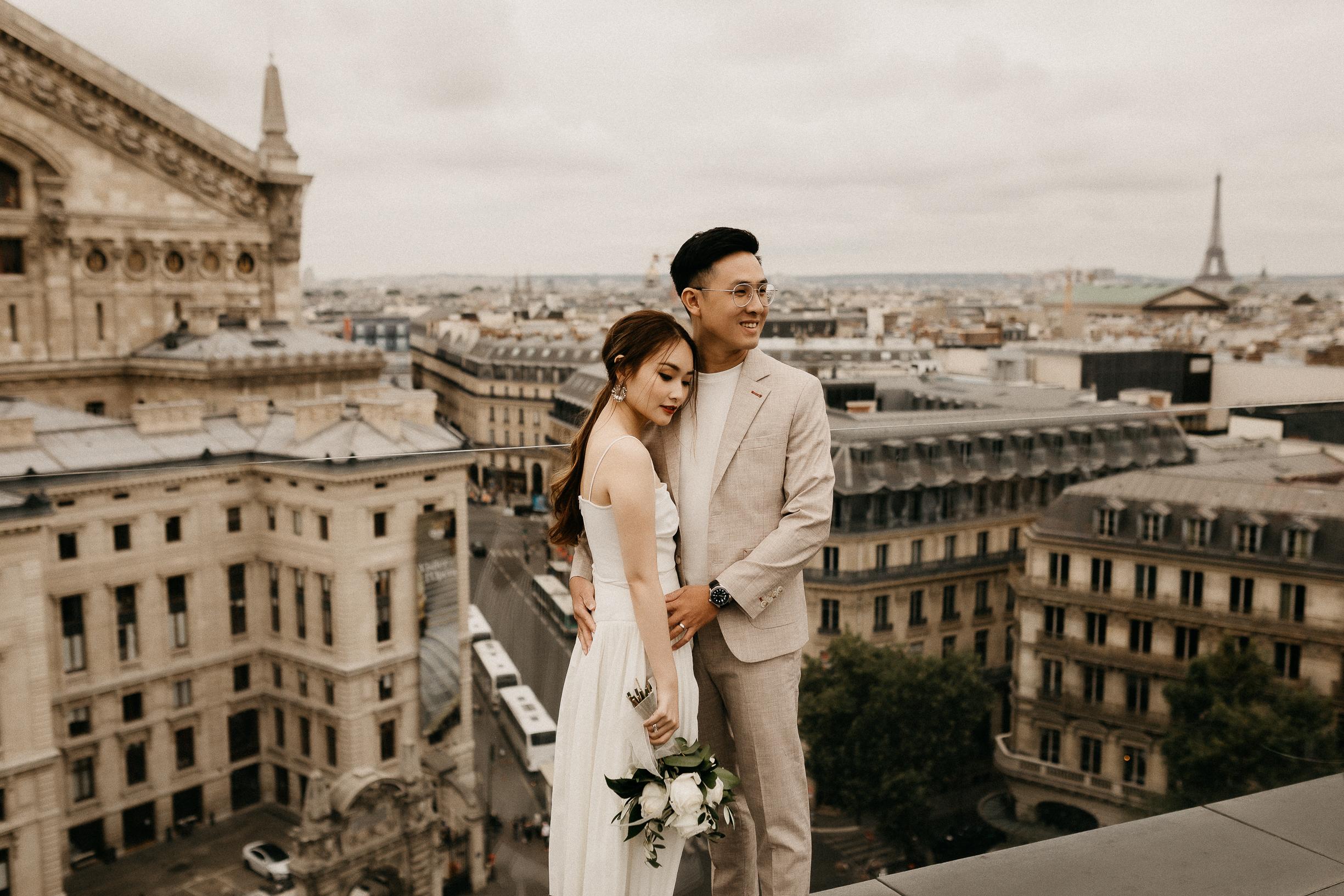 Paris rooftop eiffel tower view wedding photo