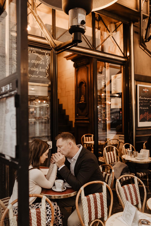 paris engagement photos cafe winter