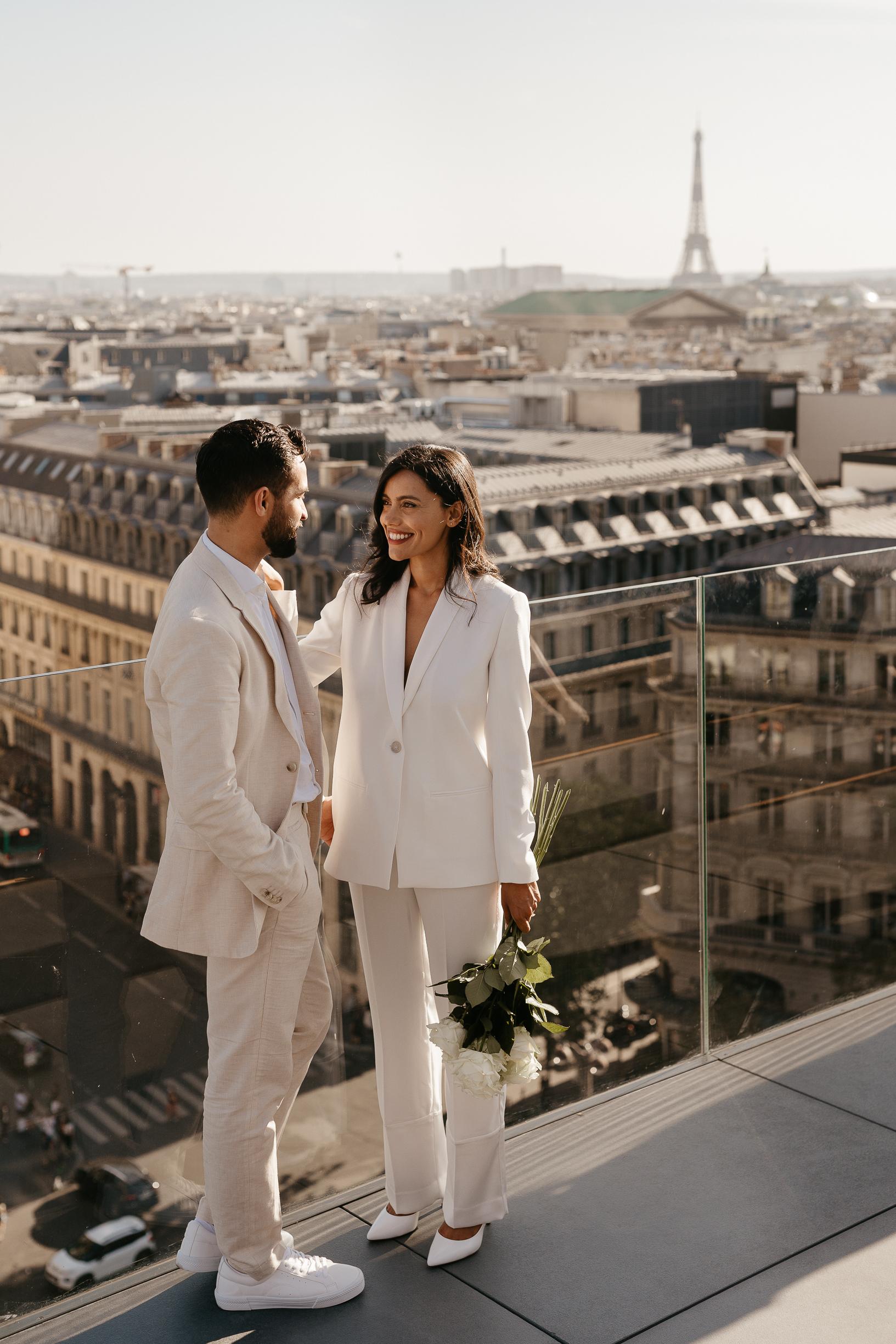 Paris engagement photographer rooftop