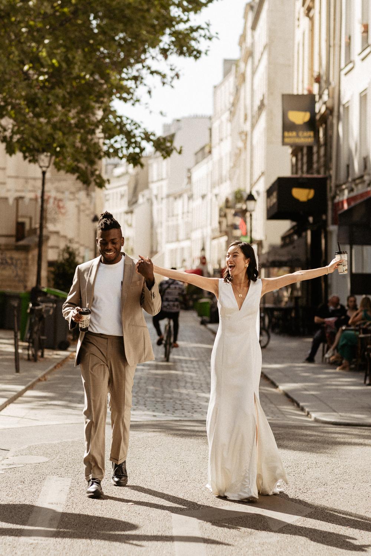 Paris wedding and elopement photo multiracial