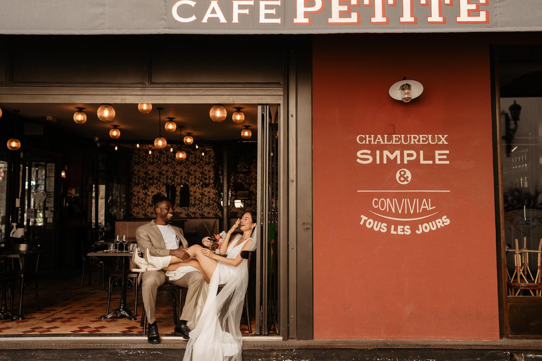 parisian cafe couple photo