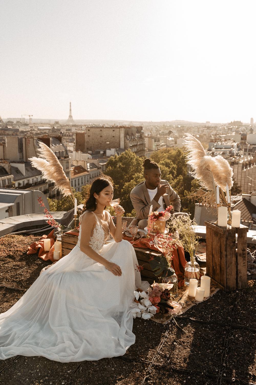 Paris Elopement rooftop photographer