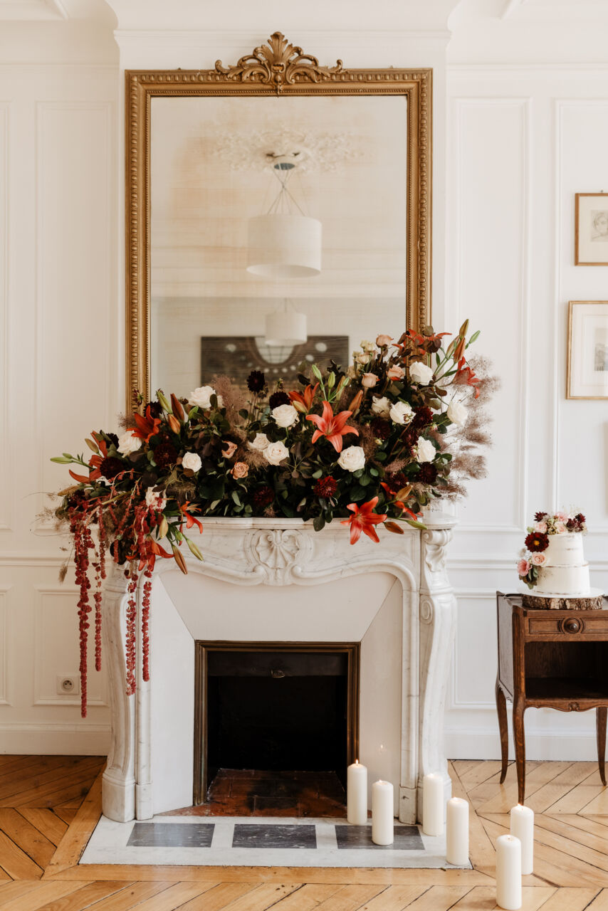 autumn winter paris elopement wedding with fireplace indoor