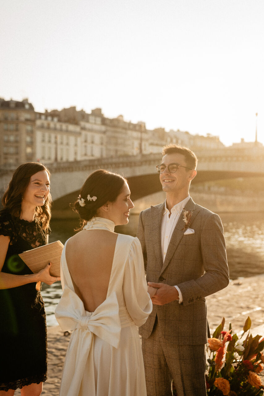 Paris elopement ceremony Seine river with officiant