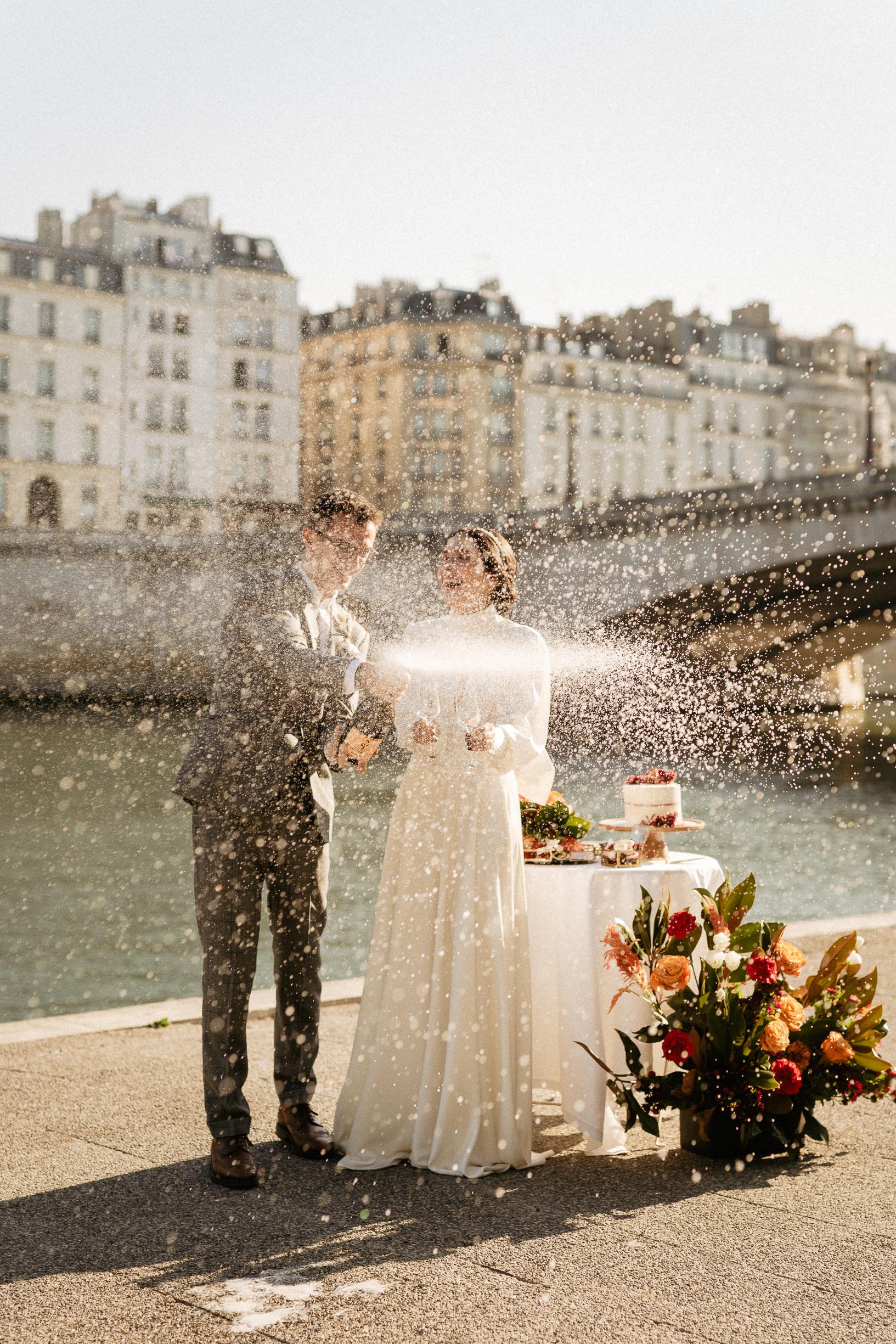 Champagne shower paris elopement wedding