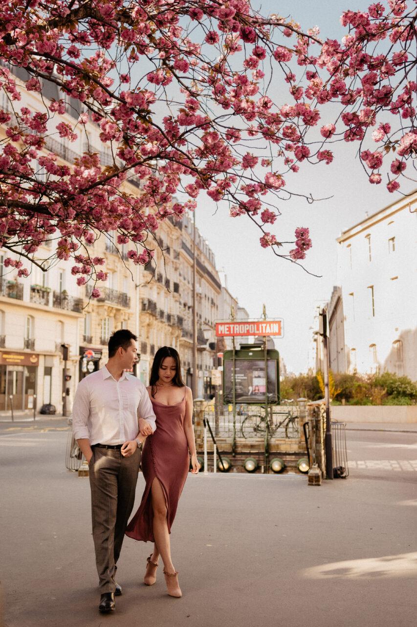 Paris spring wedding photos with cherry blossoms