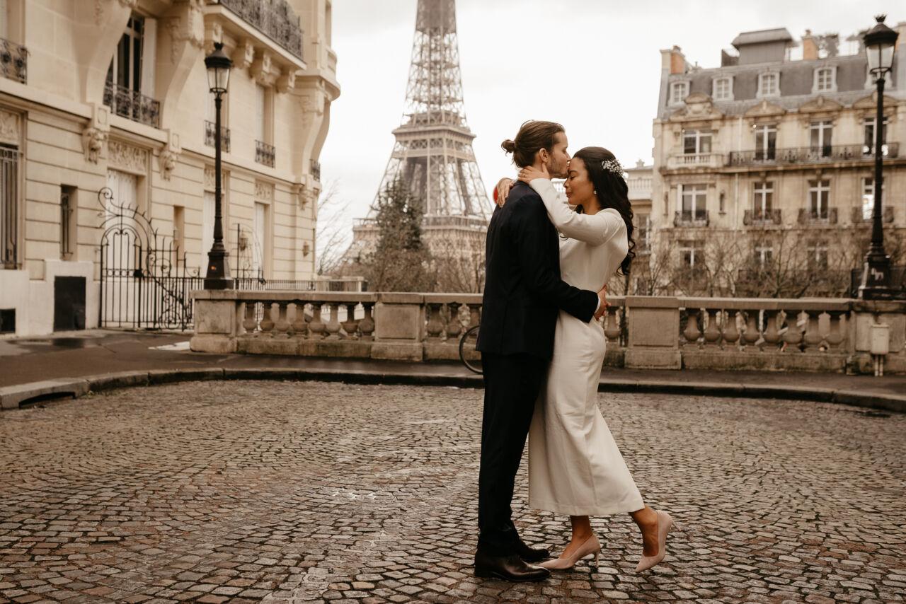 interracial couple wedding paris