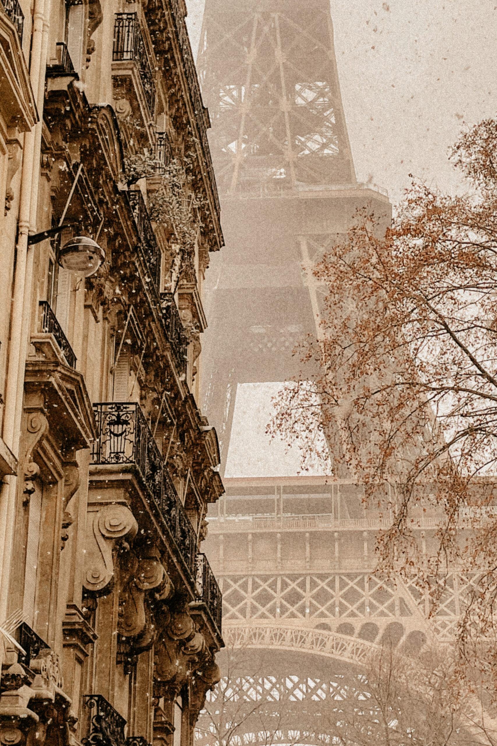 Eiffel tower snow paris haussmanian building france