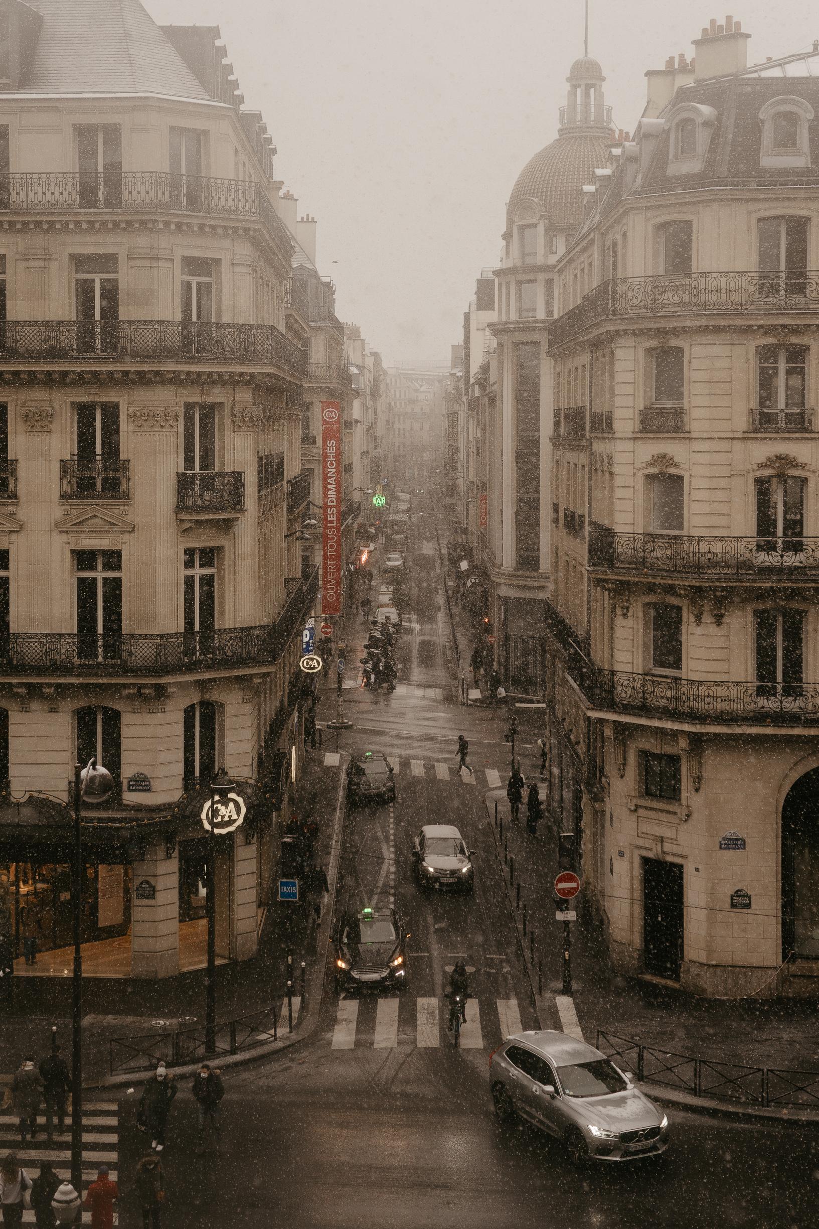 Snow in paris winter