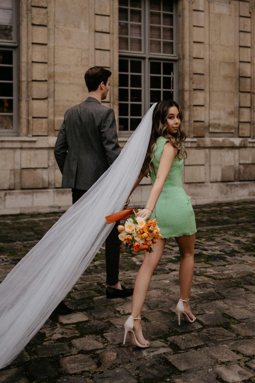 color wedding dress paris elopement photographer