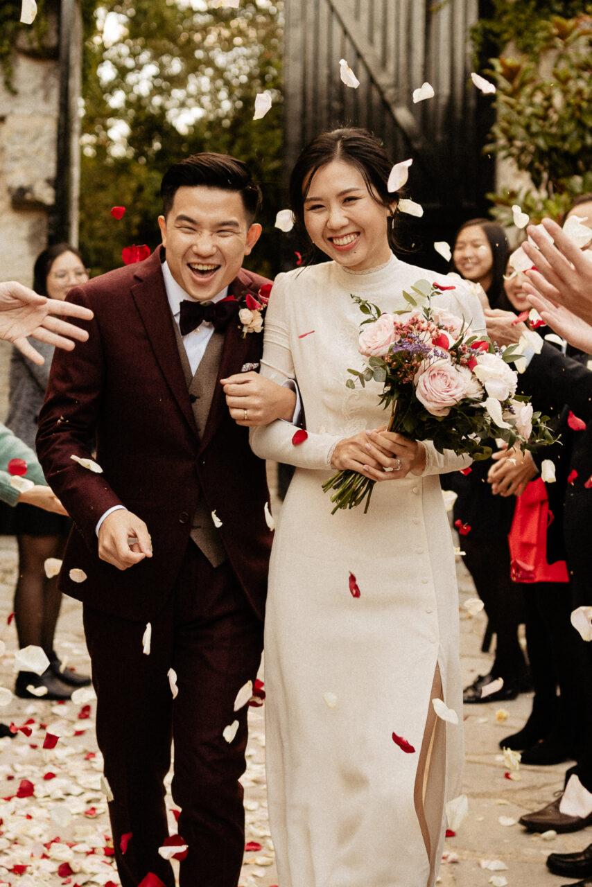 Asian wedding à la Dime de Giverny en temps de Covid ( confettis)