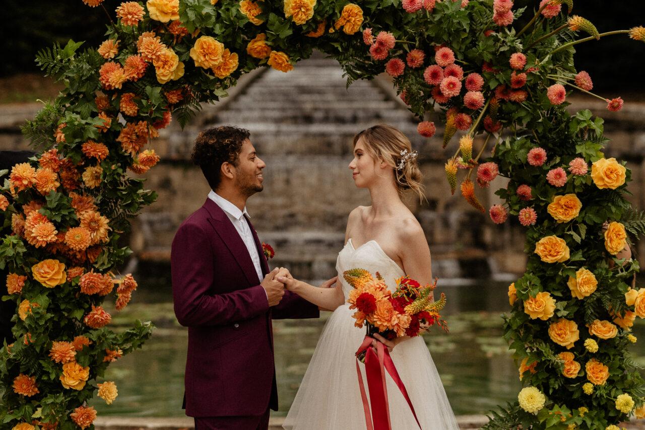 Colorful Elopement citrus wedding ceremony ideas