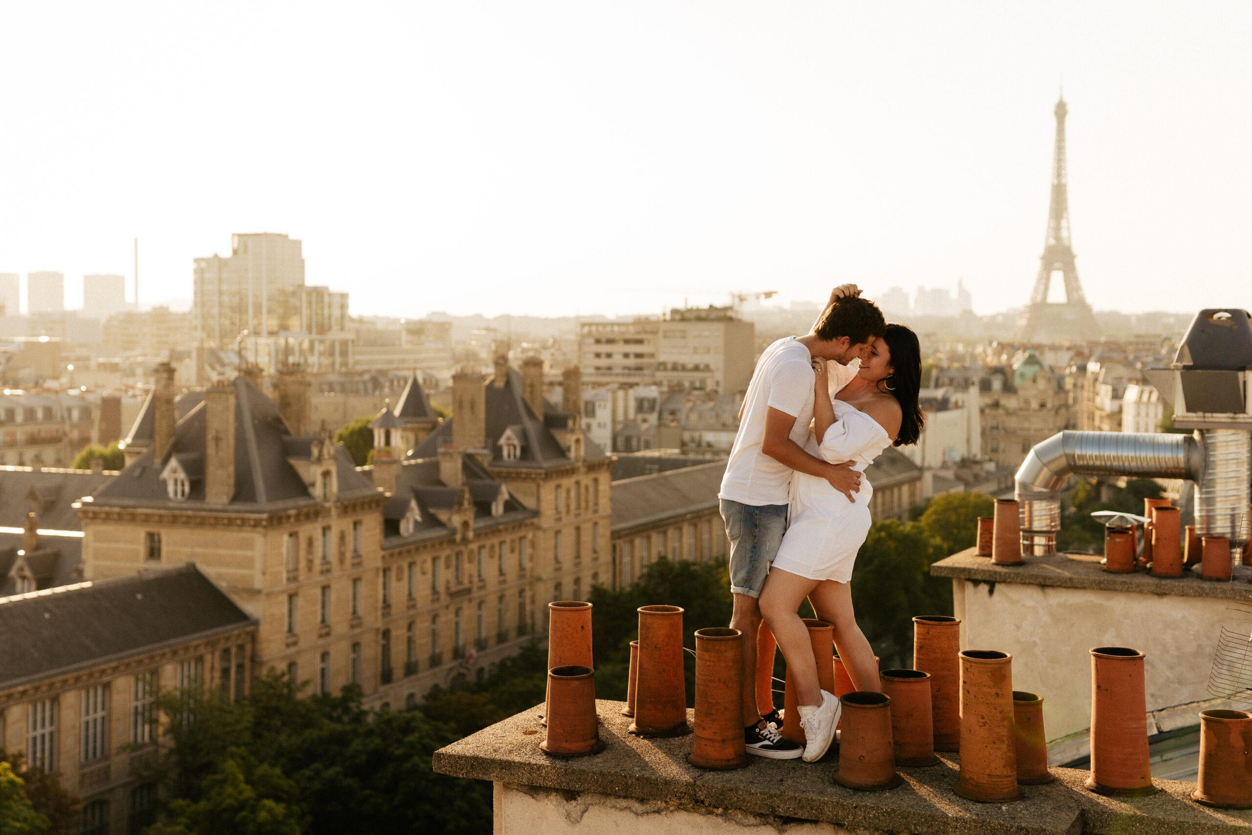 paris couple rooftop